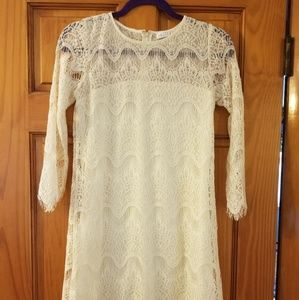 Cream lace dress - small